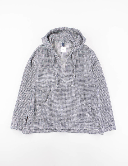 Navy Knitted Dobby Cotton/Nylon Loose Fit Pullover Parka