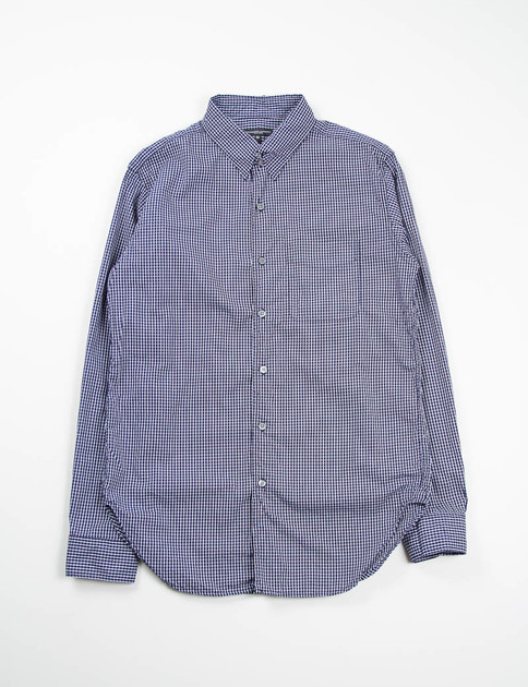 Navy Graph Check Tab Collar Shirt