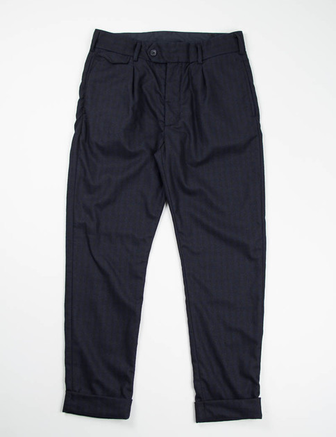 Black/Navy Wool Gingham Check B1P Pant