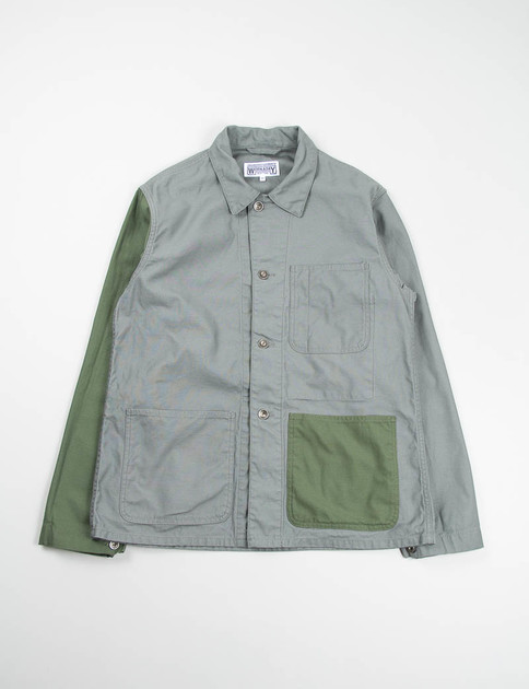 Grey/Olive Combo Reversed Sateen Utility Jacket