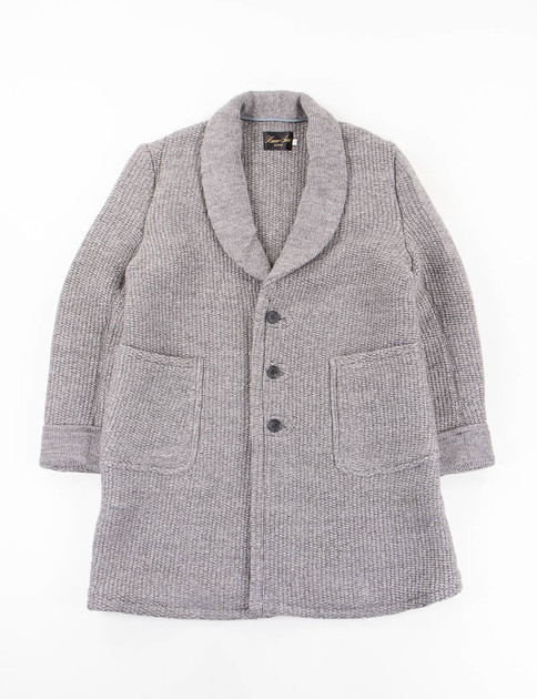 Grey Shawl Collar Knit Coat
