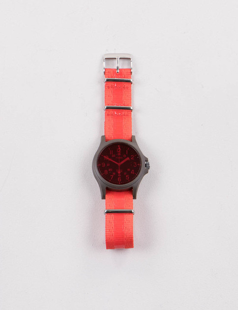 Green/Black w/ Coral Red Strap Acadia Watch