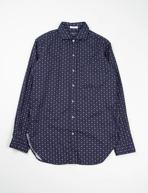 Dark Navy Foulard Print Spread Collar Shirt