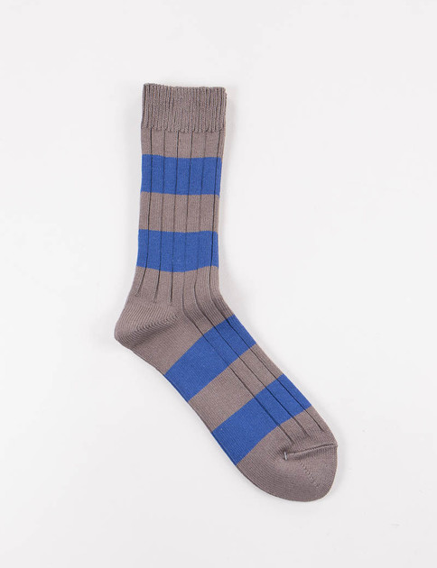 Dark Grey/Blue Wide Border Rib Socks
