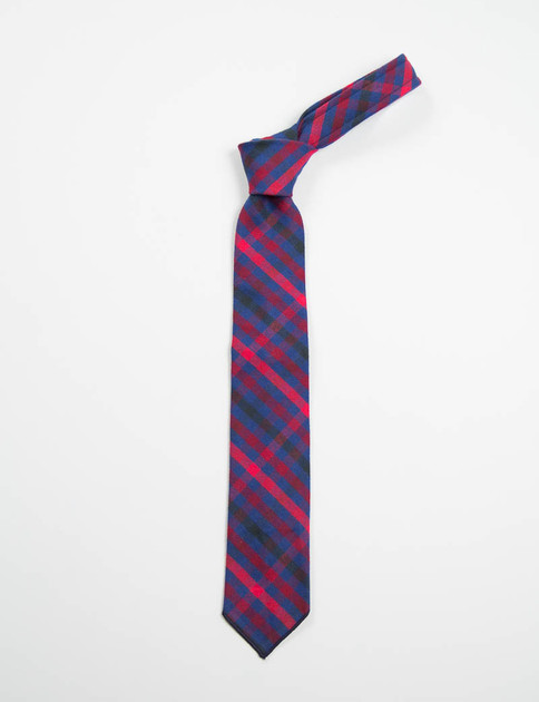 Red/Navy Brushed Plaid Neck Tie