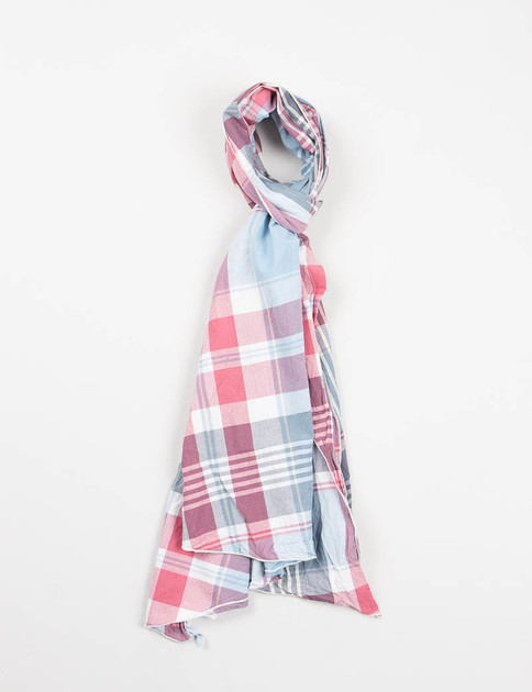Red/Light Blue Big Plaid Long Scarf