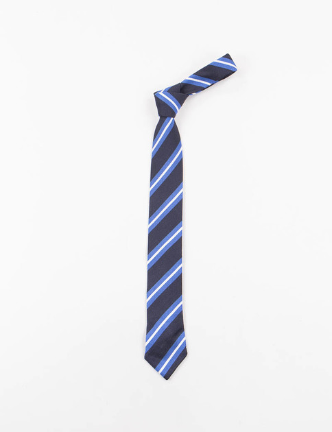 Navy Regimental Stripe Silk Knit Tie