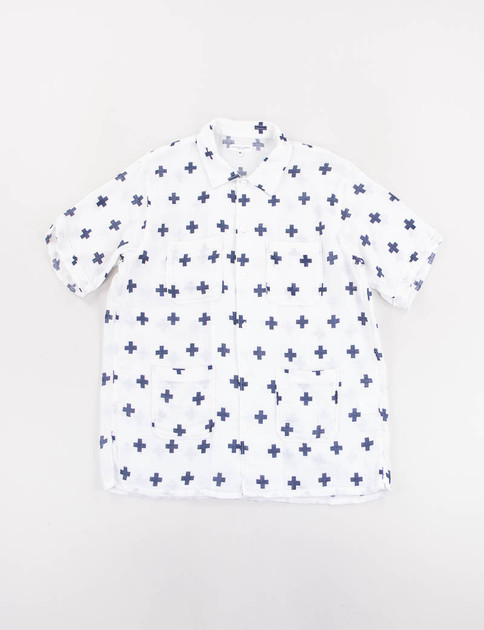 Navy Cross Print Gauze Camp Shirt
