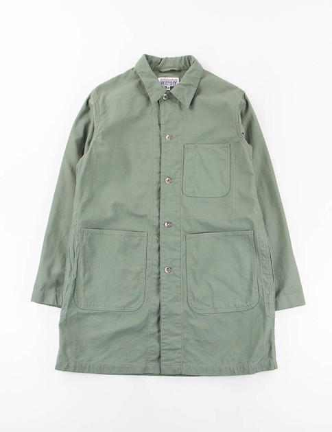 Olive Reversed Sateen Shop Coat