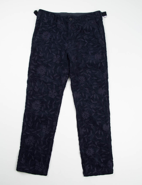 Dark Navy Floral Embroidered Corduroy USN Pant