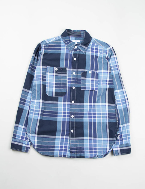 Light Blue/Navy/White Big Plaid Work Shirt