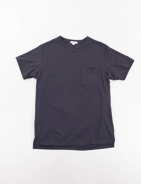 Navy Crossover Neck Pocket Tee