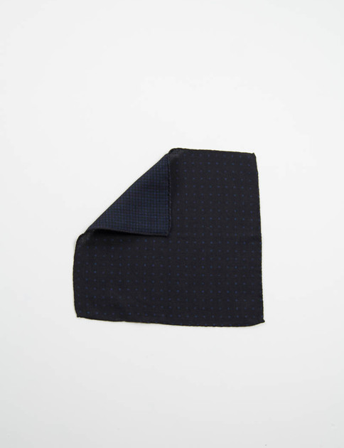 Dark Navy Polka Dot Double Faced Pocket Square