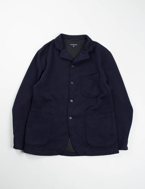 Dark Navy Wool Jersey Knit Leisure Jacket