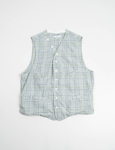 Green C/L Glen Plaid Cinch Vest