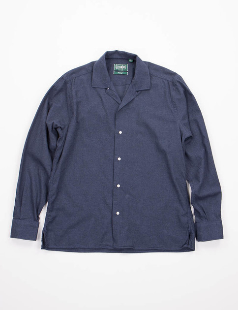 Navy Flannel Camp Shirt