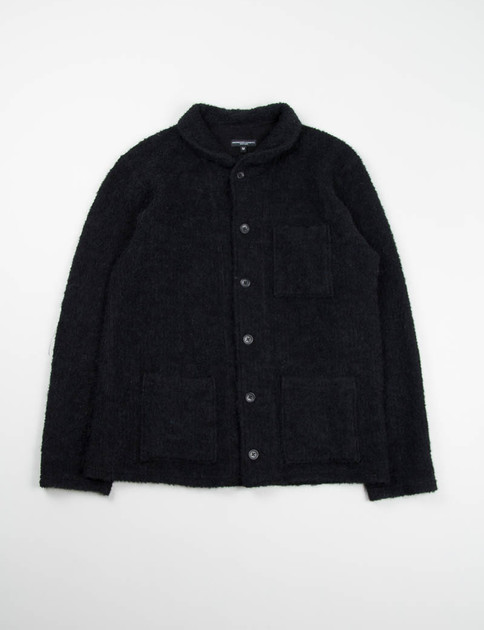 Black Boucle Shawl Collar Knit C/D