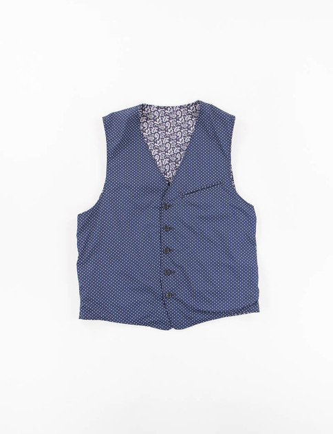 Dark Navy Cotton Polka Dot Reversible Vest
