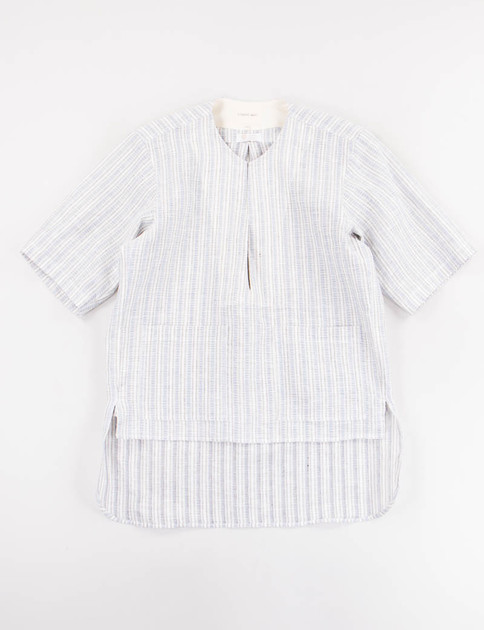 Blue Stripe Front Slit Shirt