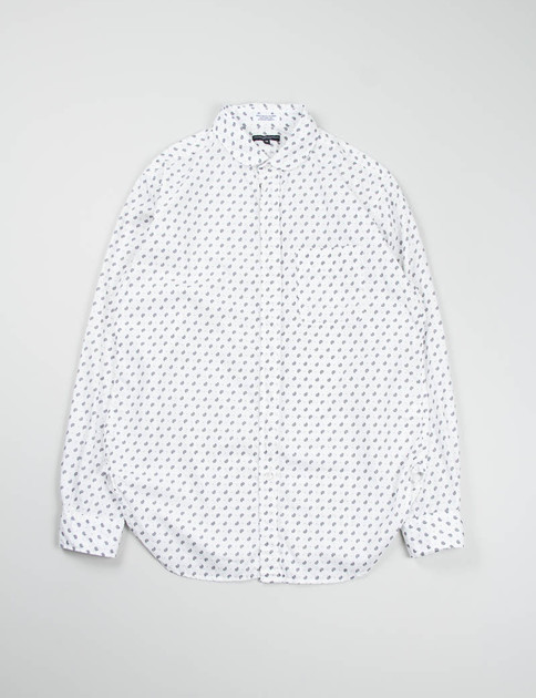 White Small Paisley Rounded Collar Shirt