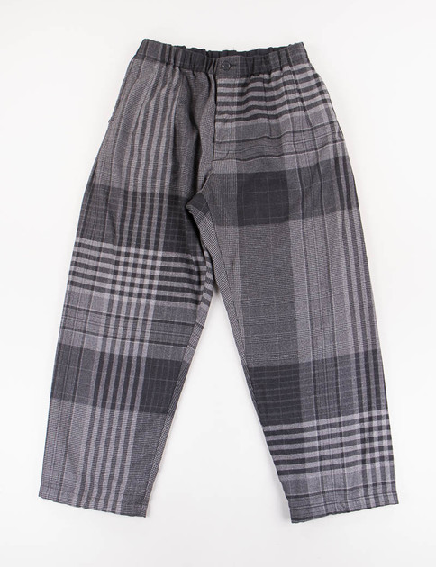Grey/Black Worsted Wool Plaid New Balloon Pant