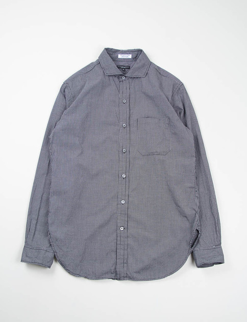 Black Small Graph Check Spread Collar Shirt