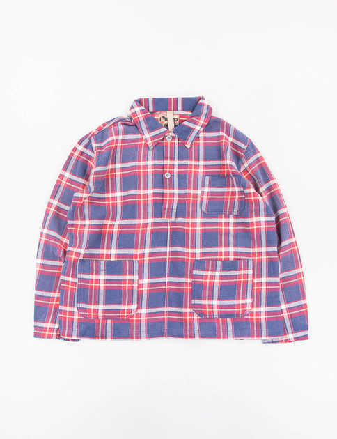 Lybro Red/Blue Distressed Wash Check Poh Shirt
