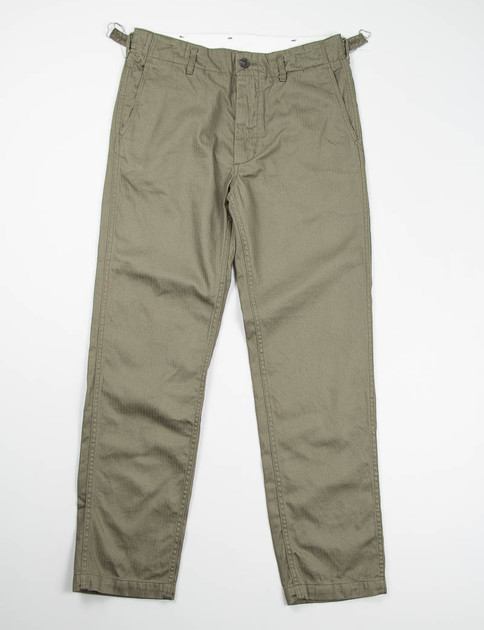 Olive Cotton Herringbone USN Pant