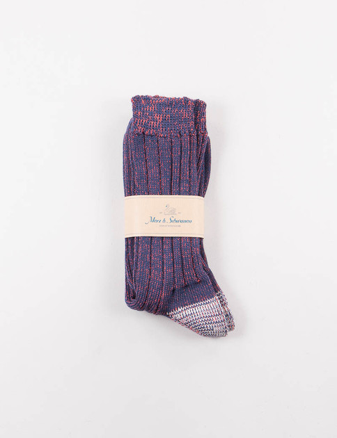 Navy/Red Melange W72 Wool Sock