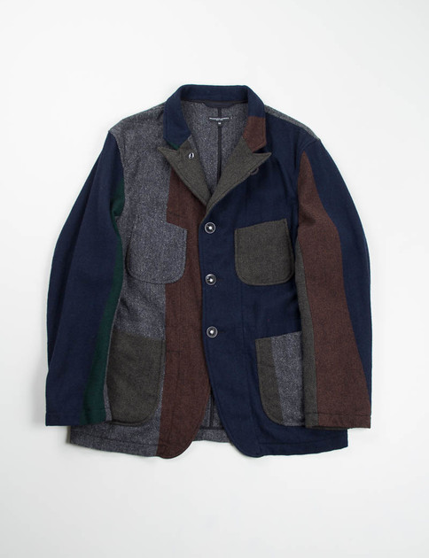 Multi Color Block Herringbone Bedford Jacket