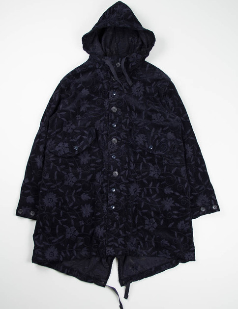 Dark Navy Floral Embroidered Corduroy Highland Parka