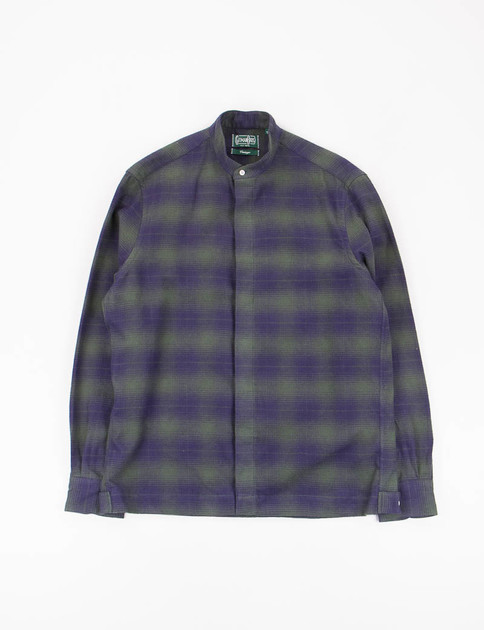 Olive Indigo Check Flannel Shirt Jacket