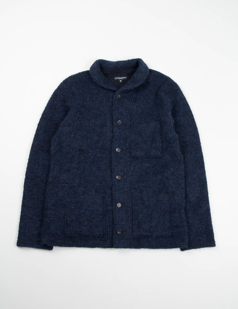 Navy Boucle Shawl Collar Knit C/D