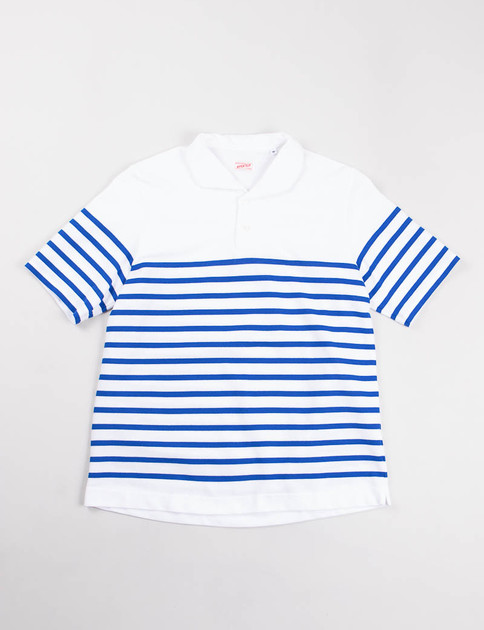White/Blue Rachel Knit Polo Shirt
