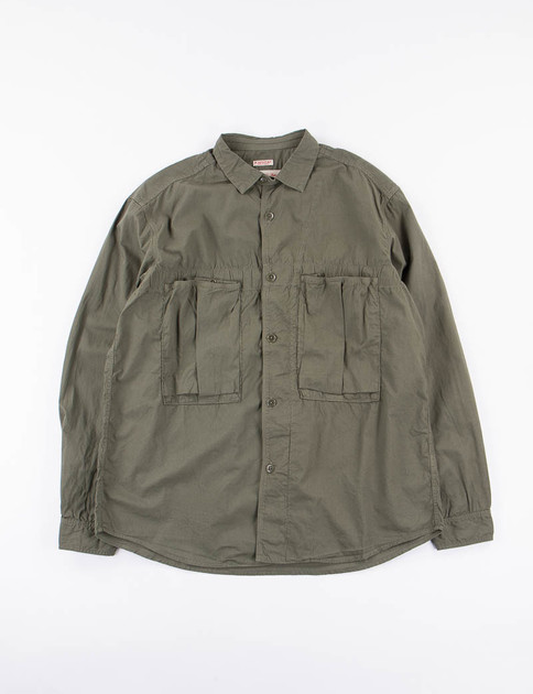 Olive Broadcloth Anorak Shirt