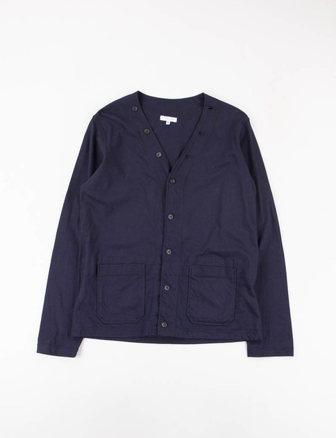 Dark Navy Solid Jersey Knit Cardigan