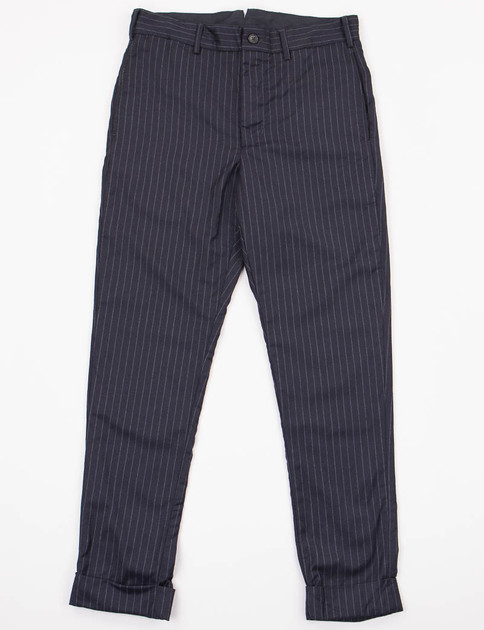 Navy Stripe Worsted Wool Cinch Pant