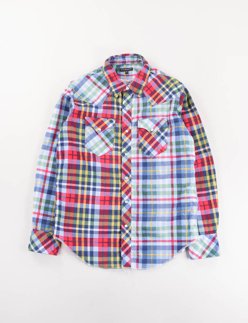Red/Navy/Yellow Plaid Flannel Western Shirt