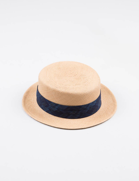 Beige/Indigo Plaid Panama Hat