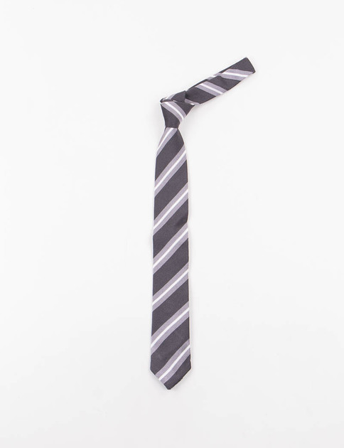 Charcoal Regimental Stripe Silk Knit Tie