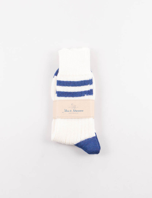 Nature/Electric Blue S75 Organic Wool Striped Socks