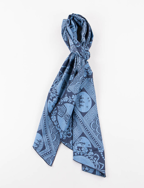 Blue/Navy Ethnic Print Long Scarf