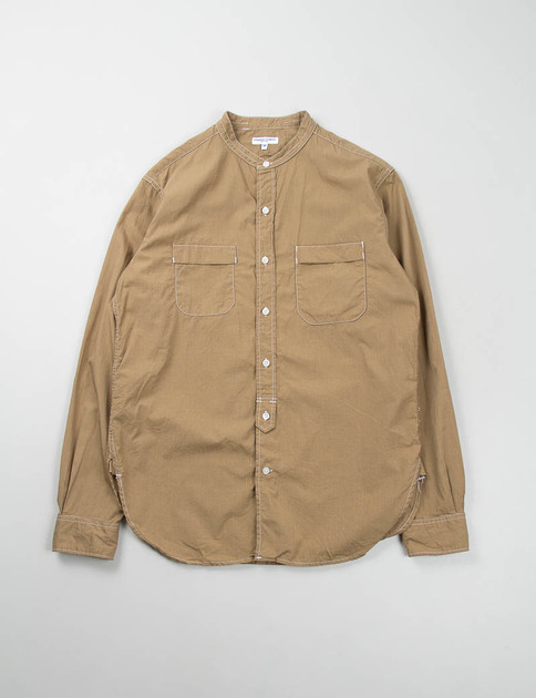 Tan End On End Banded Collar Shirt