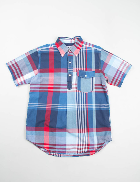 Blue/Red/White Big Plaid Popover BD Shirt