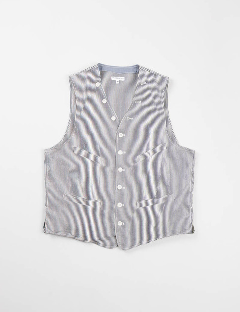 Navy Seersucker Stripe Cinch Vest