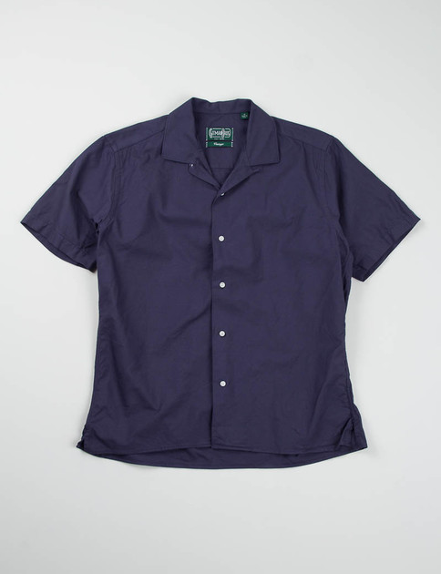 Navy Overdyed Oxford Camp Shirt