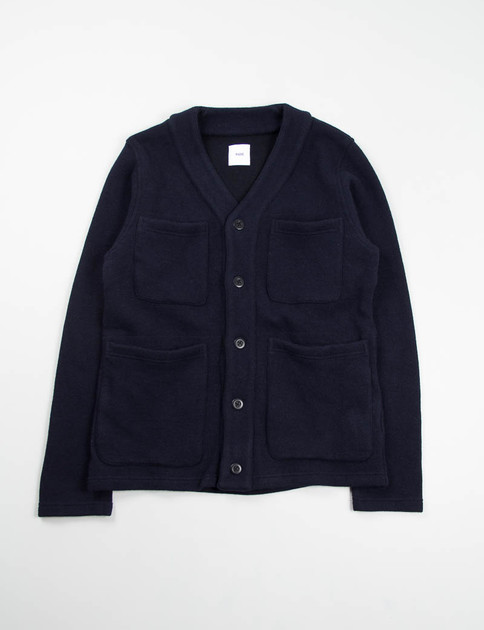 Navy 4 Patch Pocket Cardigan Jacket