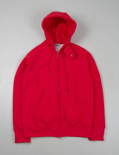 Red Thermal Raglan Zip Hoody