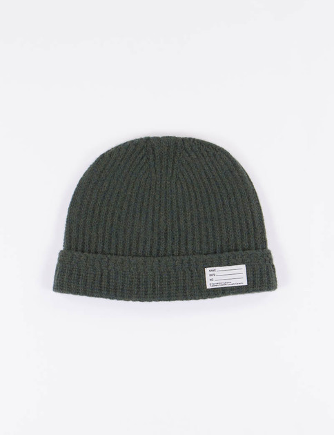 Olive Wool Knit Beanie