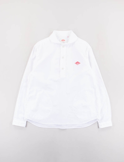 White Oxford Shawl Collar Pullover Shirt